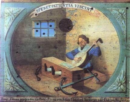 Lutenist with legs in stocks